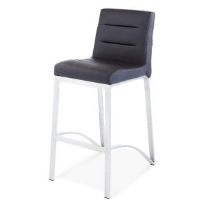 Bar Stool Contemporary with Metal Base - Black