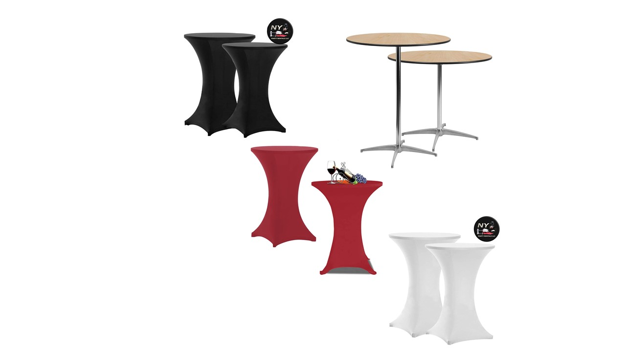 Cocktail bar height tables for rent
