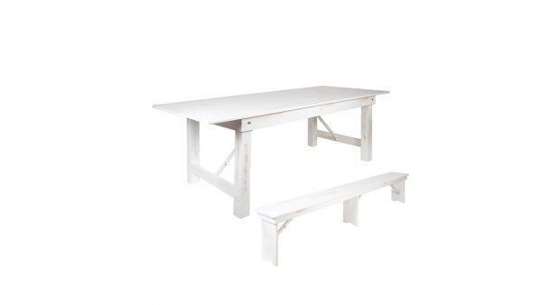 white wash farm tables and benches for rent