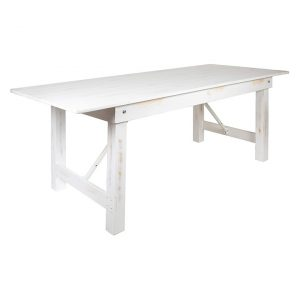 Rectangular Antique Rustic white wash White Solid Pine Folding Farm Table for rent
