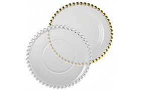 Charger Plates Glass Gold Beaded