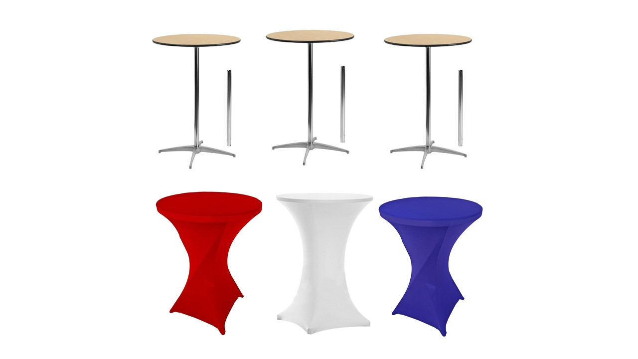 Spandex tablecloth with table package for rent