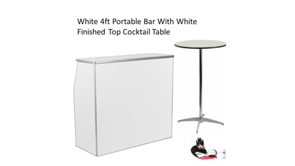 White Bar with White Cocktail Table
