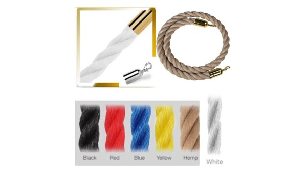 A2 Stanchion Ropes Braided Gold And Chrome Tips