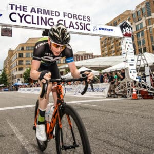 Rider Justin Mauch off the front at the 2018 Armed Forces Cycling Classic Clarendon Cup