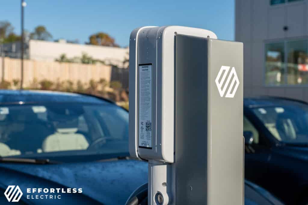 Effortless Electric logo on station hardware