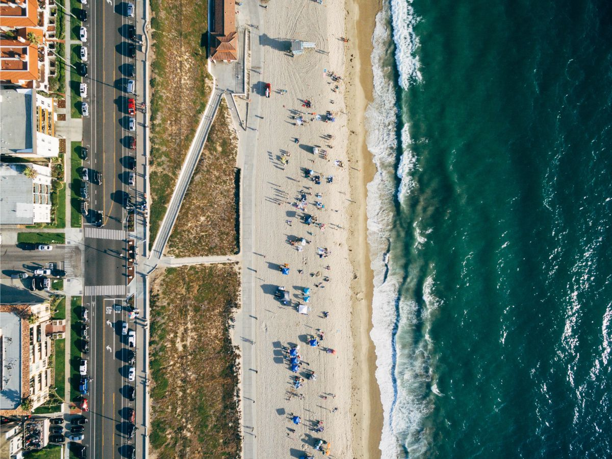 aerial photo of popular beach in Hollywood Riviera - shot by kyle coats