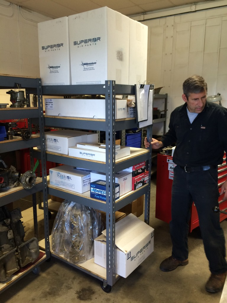 Tim and the engine parts cart