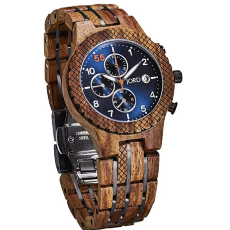 Jord wooden watch conway series with blue chronograph