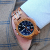 Jord wooden watch conway series with blue chronograph in style