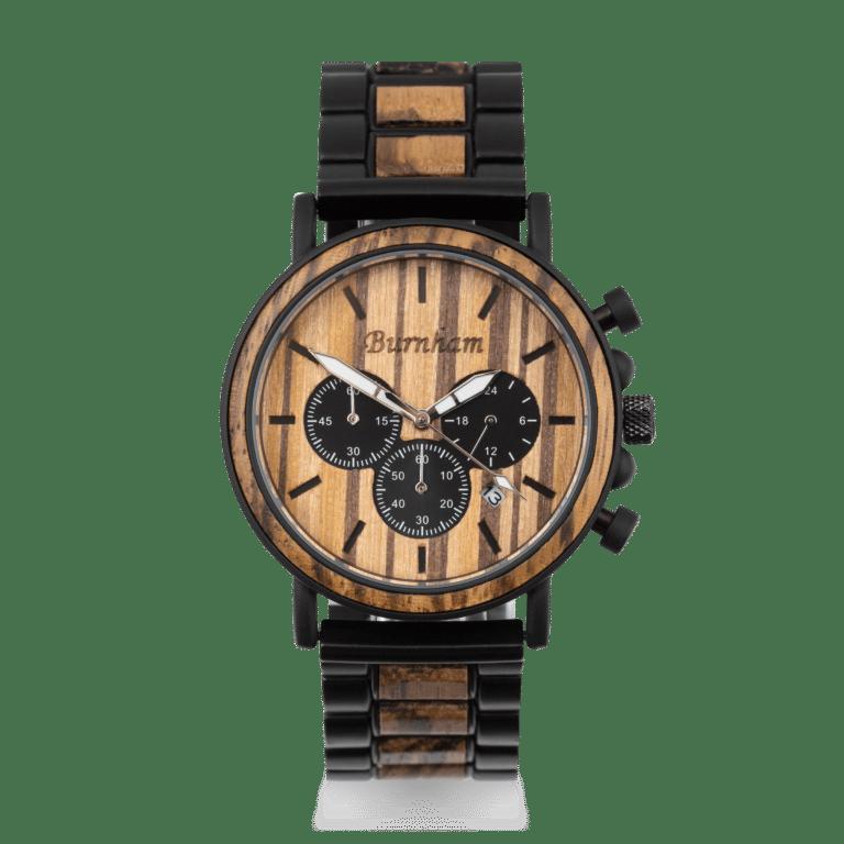 men's luxury chronograph wooden watch