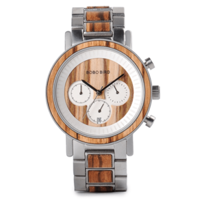 stainless and wood watch
