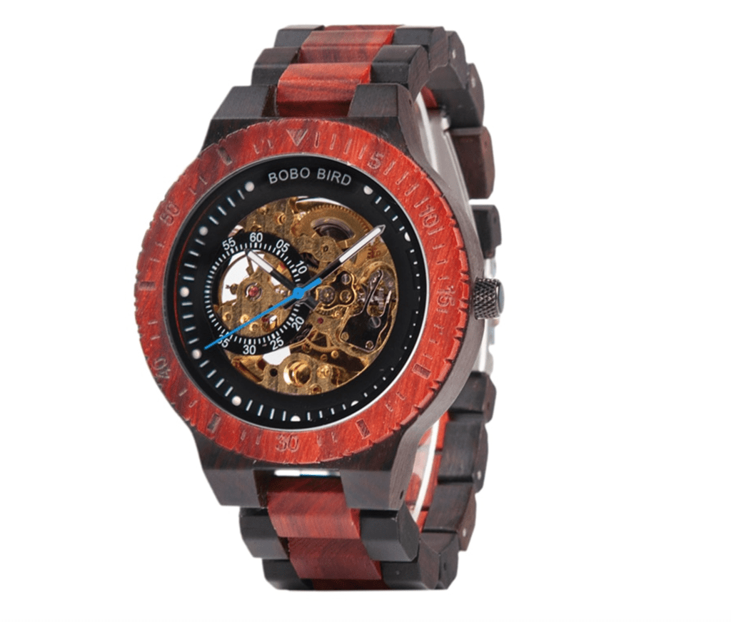 red skeleton wooden watch