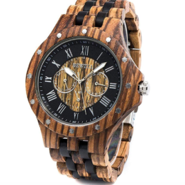 Men Wood Watch Quartz, Lightweight Vintage Men Wrist Watches with All Wood Strap (Zebra Wood and Ebony)