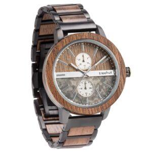tao grey marble walnut wood watch