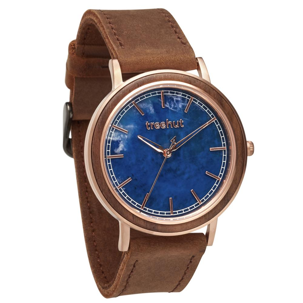 bay treehut blue marble watch for men with walnut wood and brown leather band