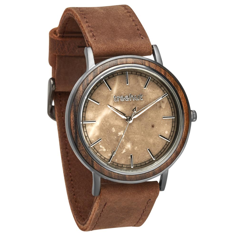 bay treehut brown marble watch for men with walnut wood and brown leather band