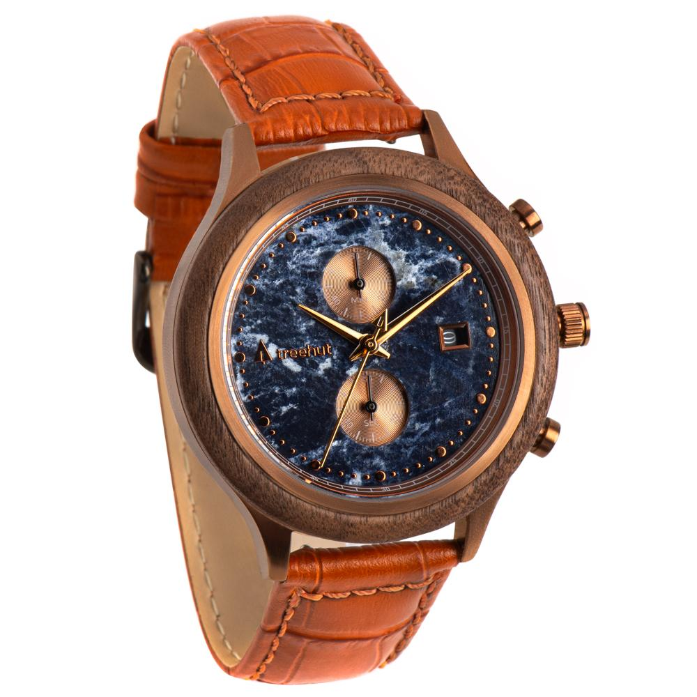 rise treehut blue marble watch for men with walnut wood and bronze case and cognac crocodile leather band