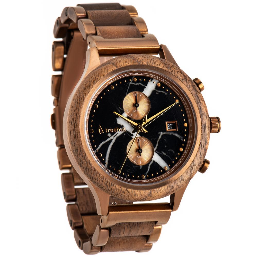 rise treehut black marble watch for men with walnut wood and bronze metal band