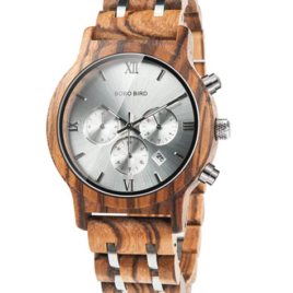 BOBO BIRD Mens Wooden Watches Luxury Wood Metal Strap Chronograph & Date Display Quartz Watch