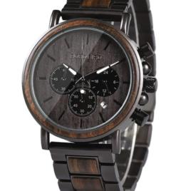 BOBO BIRD Men's Wooden Watch Ebony Wood & Stainless-Steel Chronograph