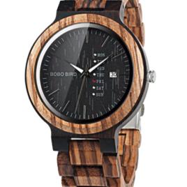 BOBO BIRD Week and Date Multi-Functional Men's Zebra Wooden Quartz Watch