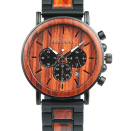BOBO BIRD Men's Casual Wooden Wrist Watch, Wood & Stainless-Steel Watch with Luminous Pointers