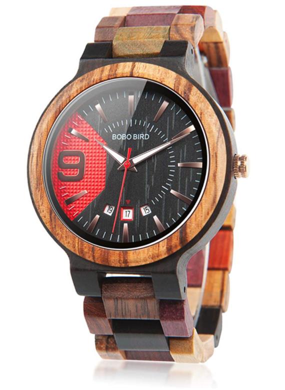 BOBO BIRD Men's Multi-Color Wooden Watch With Analog Quartz Date Display