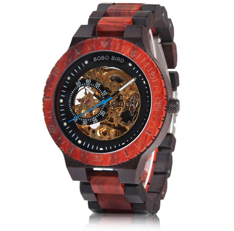 BOBO BIRD Men's Wooden Watch With Luxury Mechanical Movement | Red & Ebony Wood