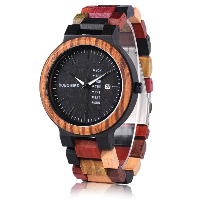 BOBO BIRD Natural Wood Watch For Men With Week & Date Display Japanese Chronograph Quartz Movement
