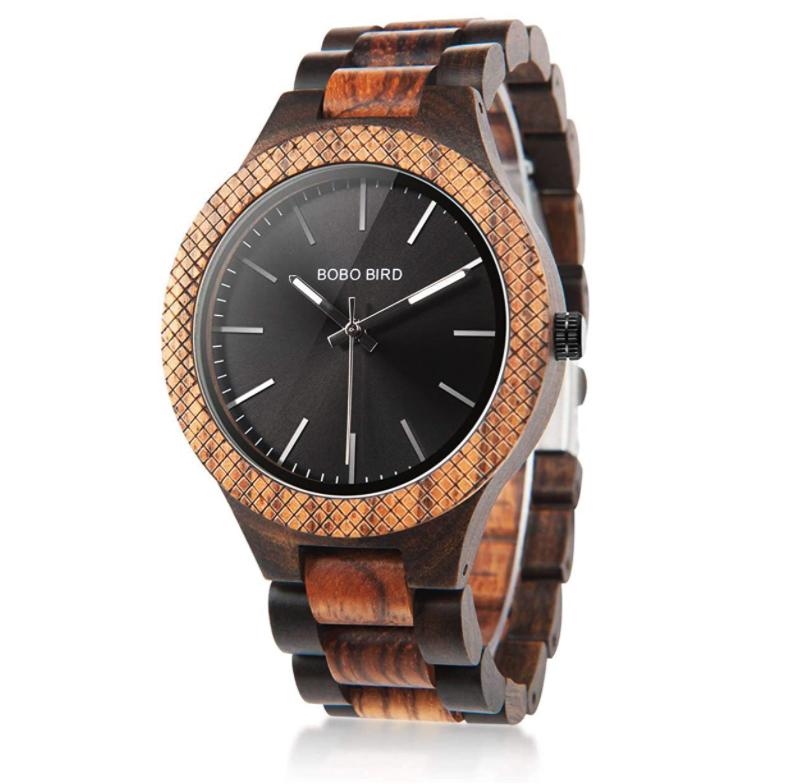 BOBO BIRD Men's Retro Zebra Wooden Watch Large Size Quartz Watch with Black Face