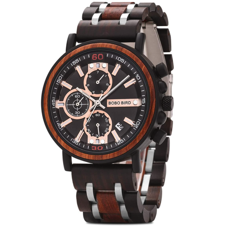 BOBO BIRD S18-1 Men's Wood Watch Stainless-Steel Chronograph with Luminous Pointers