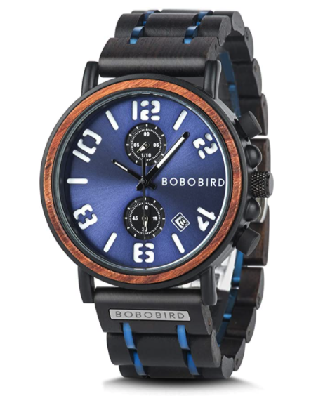BOBO BIRD Men's Wood Watch Stainless Steel Luxury Design With Blue Chronograph Face