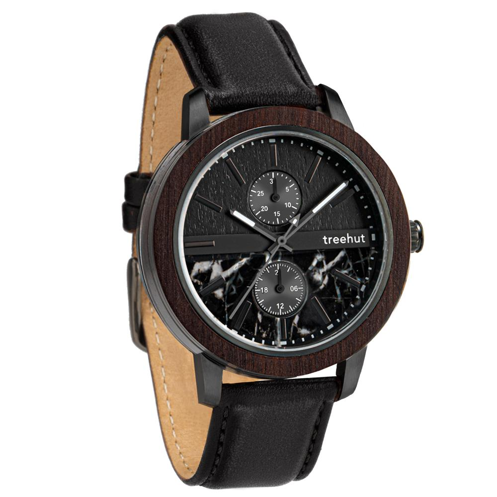 tao treehut black marble watch for men with wood and black leather band