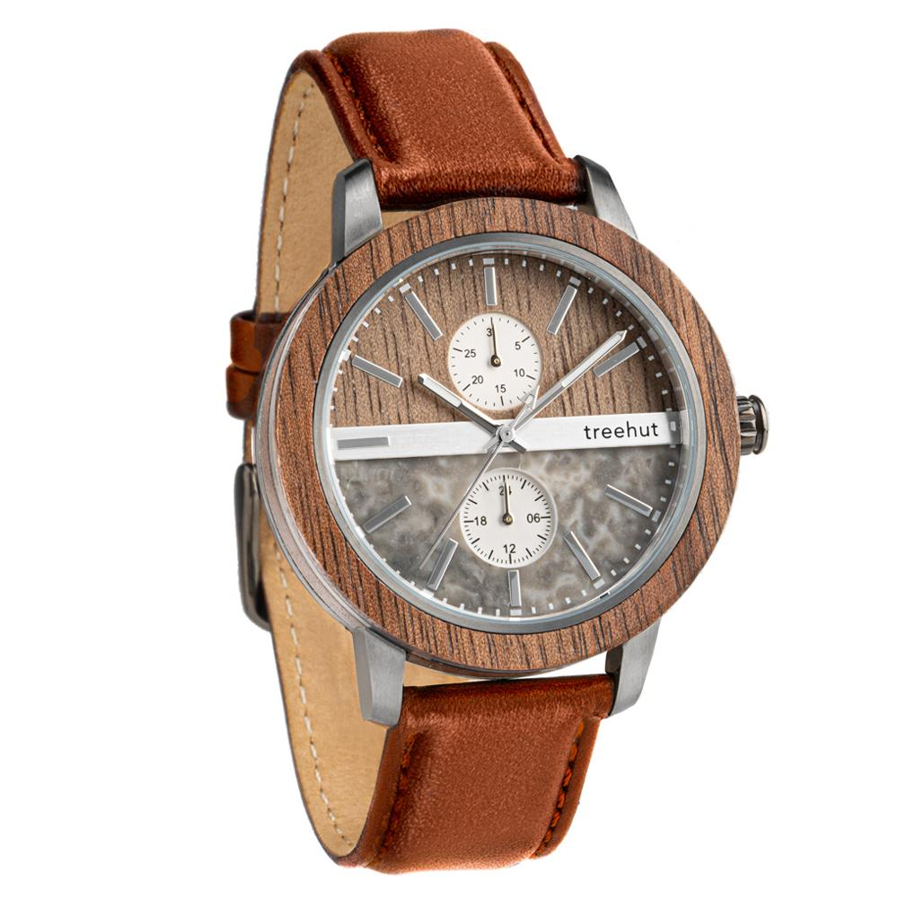 tao treehut grey marble watch for men with walnut wood and cognac leather band