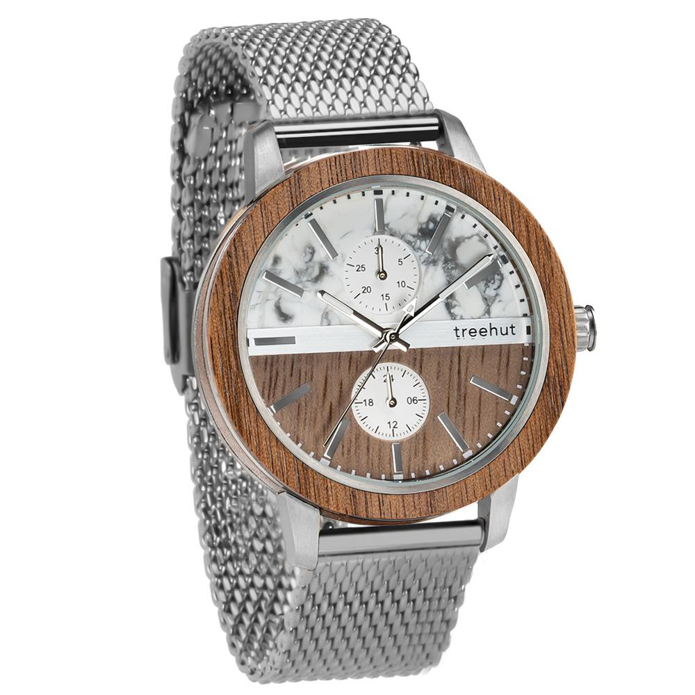 tao treehut gray marble watch for men with walnut wood and silver mesh band