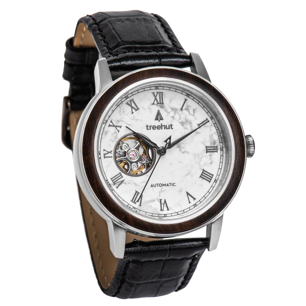 atlas treehut white marble watch for men with black leather band