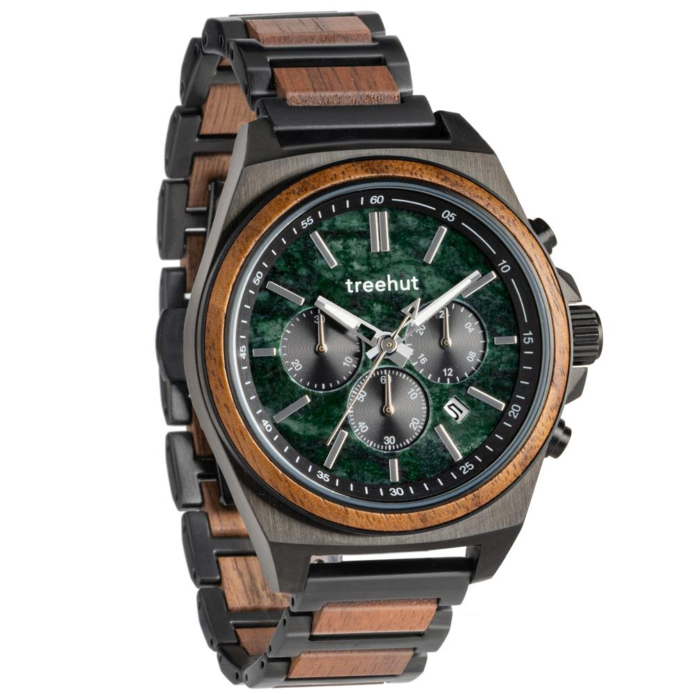 aster treehut green marble watch for men with wood and steel watch band