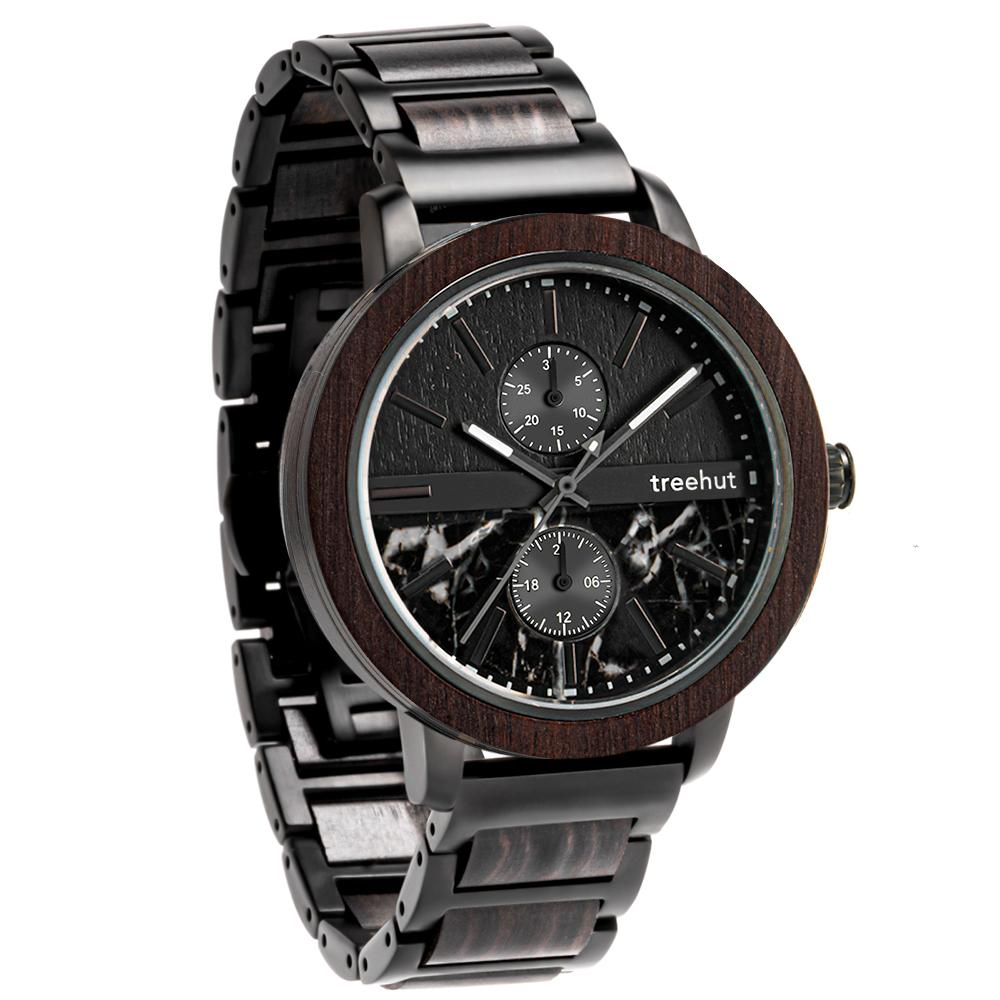 tao treehut black marble watch for men with wood and black steel band