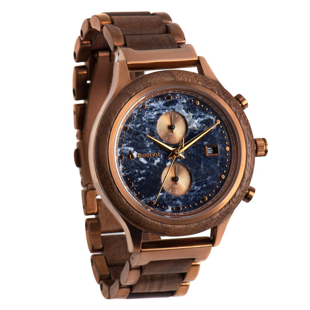 rise treehut blue marble watch for men with walnut wood and bronze metal band