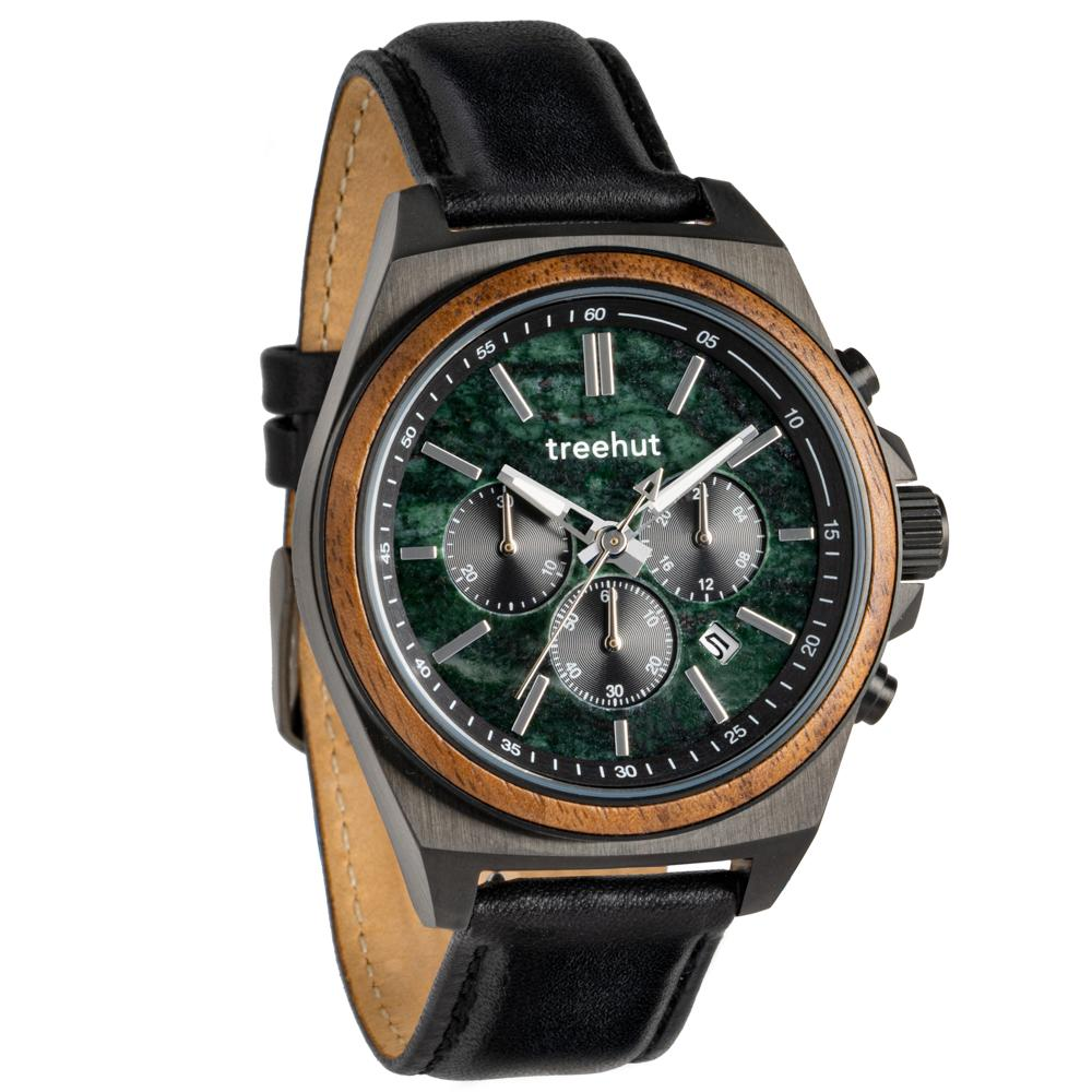 aster treehut forest green marble watch for men with wood and black leather band