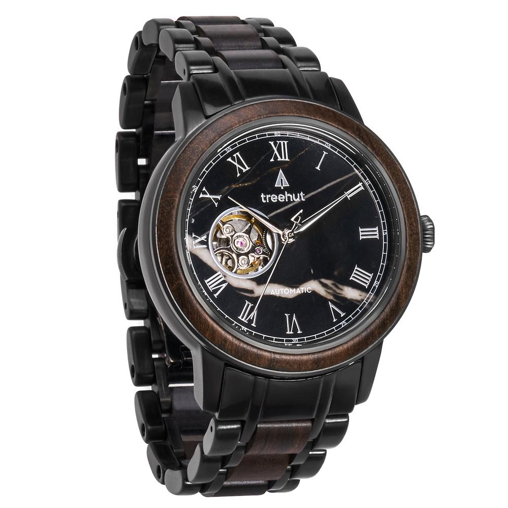 atlas treehut black marble watch for men with black metal band