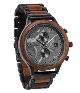 Treehut Rise Walnut Gray Marble Wood Watch