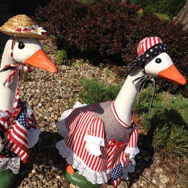 The Geese Girls in their Patriotic Regalia