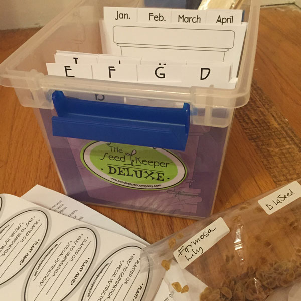 The Seed Keeper Deluxe Organization System Showing some Formosa Liliy Seeds I received from Diane LaSauce at #G2B15 at P. Allen Smith's