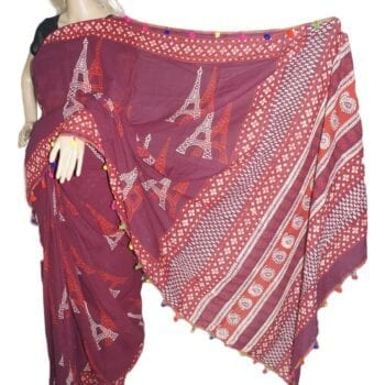 Adhrit Creations Printed Malmal Cotton Saree #35987467