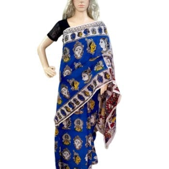 Adhrit Creations Cotton Printed Kalamkari Saree #41617716