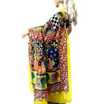 Adhrit Creations Hand Painted Cotton Kalamkari Saree #45580290