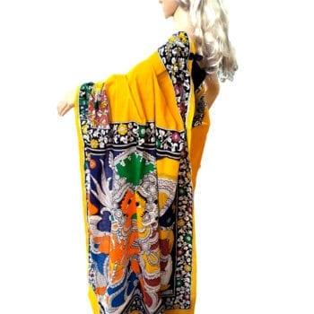 Adhrit Creations Hand Painted Cotton Kalamkari Saree #84713479