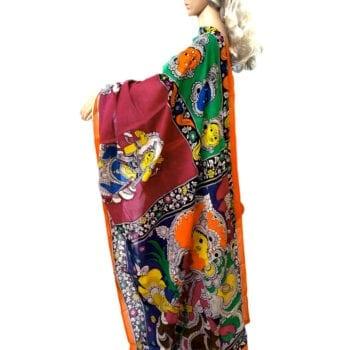Adhrit Creations Hand Painted Cotton Kalamkari Saree #52917344